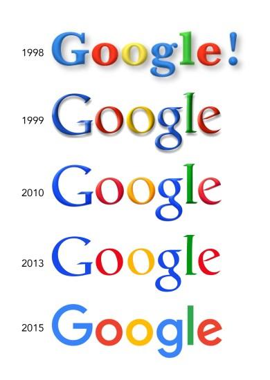 Evolution des logos Google au fil des ans