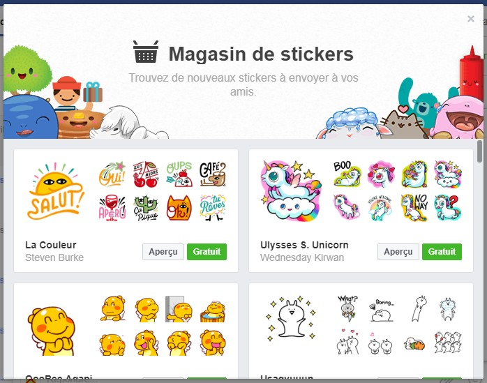 Magasin de stickers Facebook
