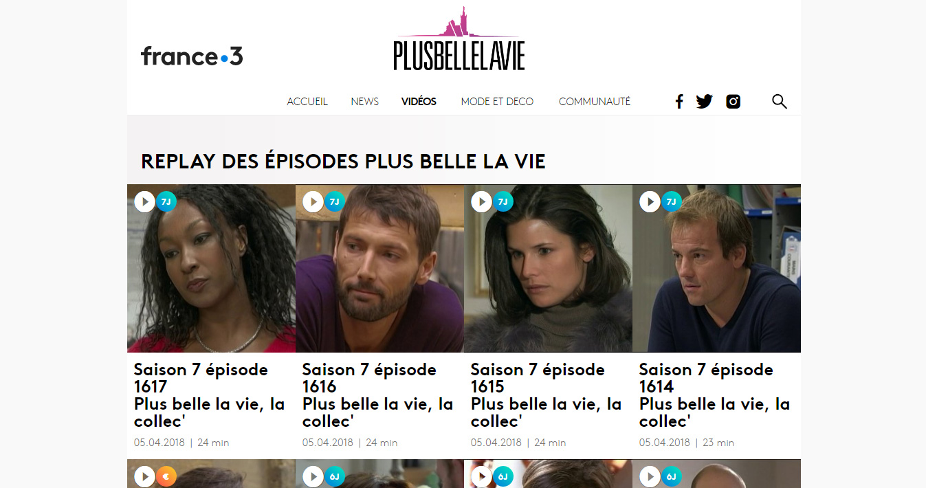 Episodes de Plus belle la vie streaming