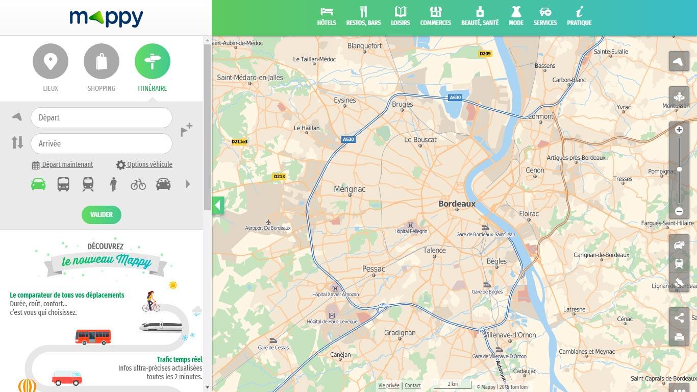 Itinéraire Mappy carte